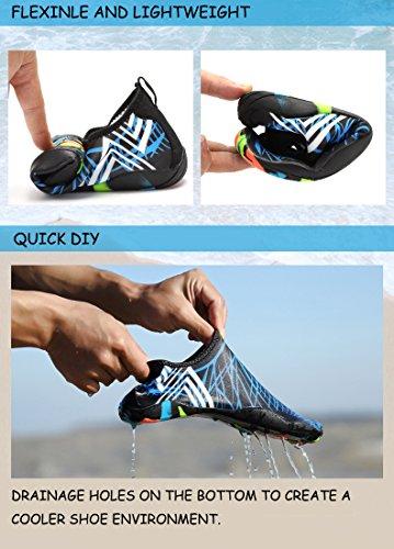 WateLves Wasserschuhe Mens Womens Beach Swim Schuhe Quick-Dry Aqua Socken Pool Schuhe für Surf Yoga Wassergymnastik Blau