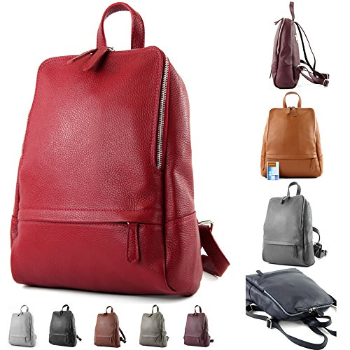 Red modamoda T138 Leather Bordeaux Leather Citybag de Backpack Ladies Bag Rucksack ital Backpack rqrRxvw7E