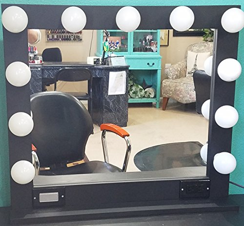 Black 32 X 28 Lighted Hollywood style Glamour vanity mirror by Glamour Mirrors