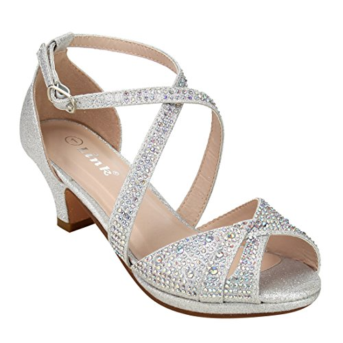 - Link Fantastic-90K Girl's Rhinestone Criss Cross Ankle Strap Chunk Heel Sandals,Silver,12