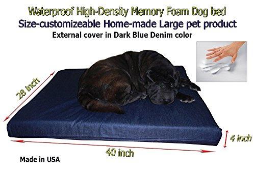 Cheap Home-made Waterproof Customizable 40″x28″x4″ Memory Foam Dark Blue Dog Bed