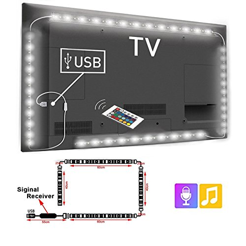 (Snople USB 5V TV Backlight LED Strip Light Sync to Music 6.6FT/2M(no Need Cut) 5050 RGB Light Color Changing with IR Remote Controller IP65 Waterproof Bias Lighting for TV,PC,Desktop and etc)