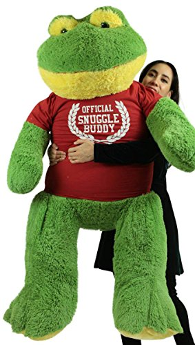 Price comparison product image Big Plush Giant Stuffed Frog 60 inch Soft 5 Foot Wears Official Snuggle Buddy T-Shirt