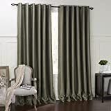 Cheap 84″W x 63″L (Set of 1 panel) 20 sizes Available Custom Modern Minimalist Dark Green Solid Embossed Grommet Top Blackout Window Treatment Draperies & Curtains Panels