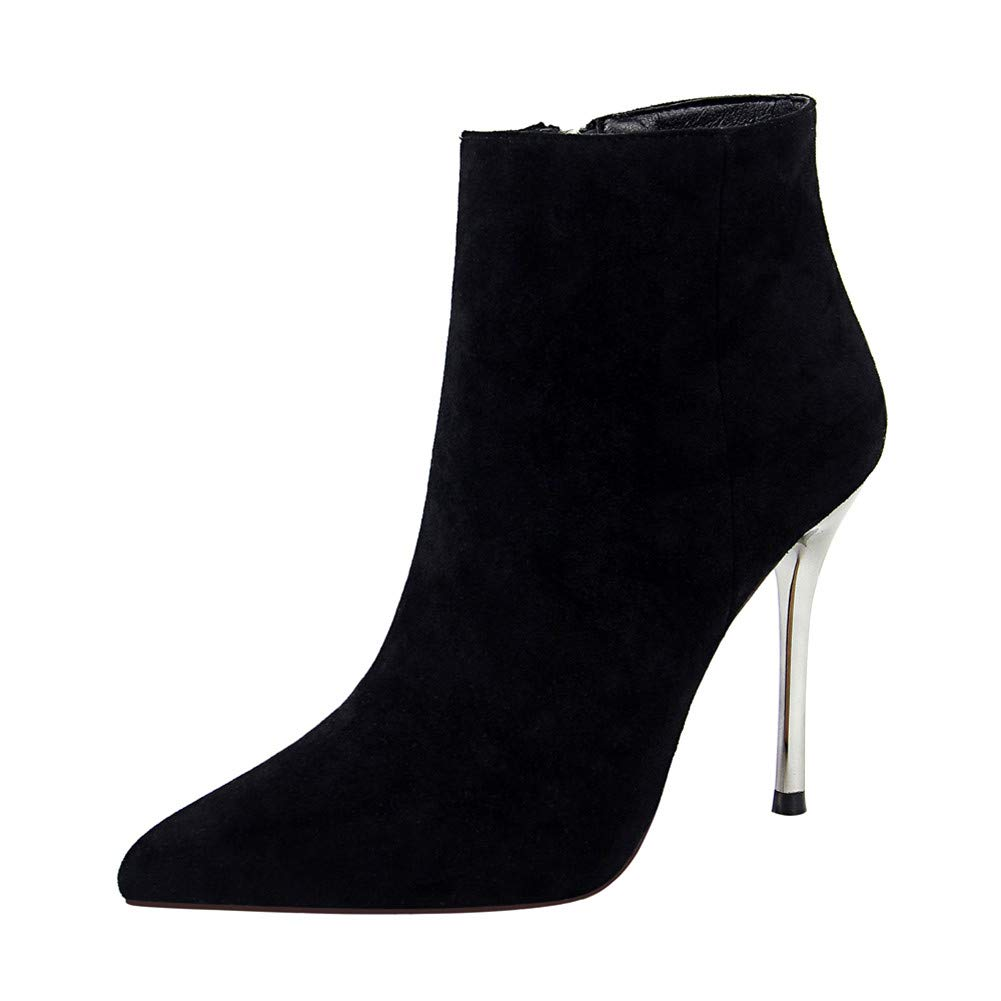 Lxmhz Womens Ankle Boots High Heel Ankle Bootie Pointed Toe Side Zipper Boots Suitable for Everyday Club Party Work