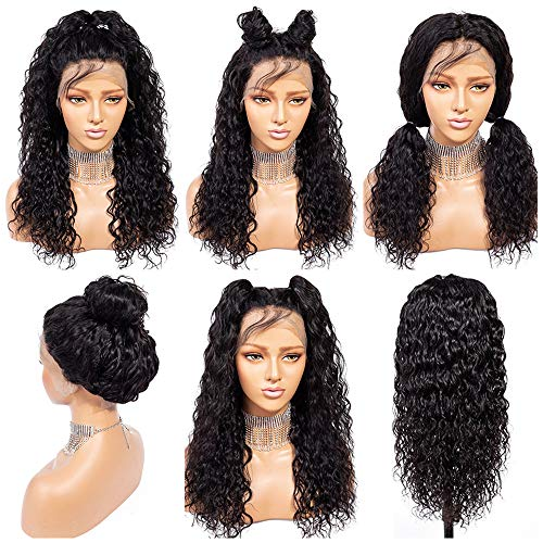 Suerkeep Water Wave Brazilian Lace Front Wigs Glueless 150% Density Remy Virgin Weave Curly Natural Human Hair Lace Frontal Wigs Pre-Plucked (24inch, Natural Color)