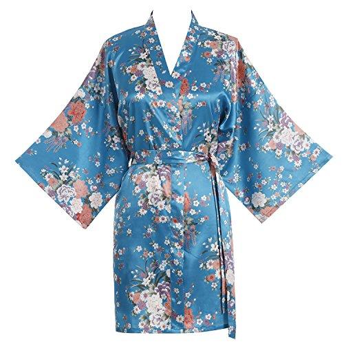 Find Dress Women's Satin Peony Print Kimono Short Robe DI20004-PeonyBlue