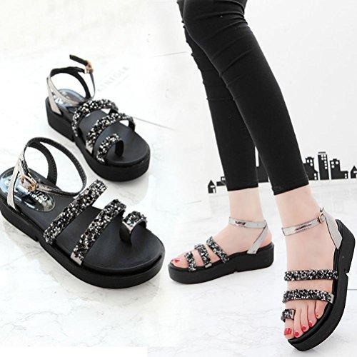 DEESEE(TM) Women Gladiator Flat Rhinestone Sandals Summer Shoes Fashion Sandals Shoes (US:5.5, Black)