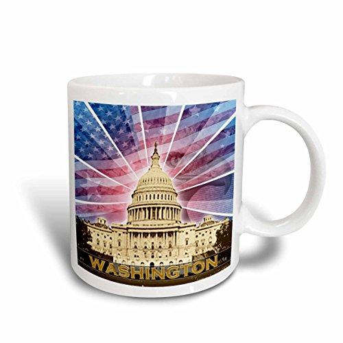 3dRose mug_19413_1 Washington Dc Patriotic American Flag with Bald Eagle and Capitol Building, Ceramic Mug, 11-Ounce (Best Outlets In Washington Dc)