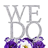 LOVENJOY Rhinestone WE DO Monogram Bling Crystal Metal Wedding Engagement Cake Decoration Topper Silver Glitter (Large Size 6.3-inch)
