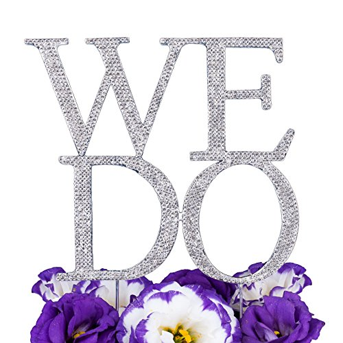 LOVENJOY Rhinestone WE DO Monogram Bling Crystal Metal Wedding Engagement Cake Decoration Topper Silver Glitter (Large Size 6.3-inch) by LOVENJOY
