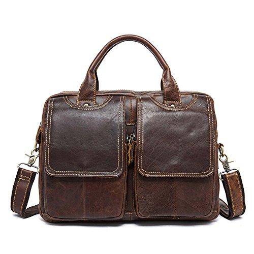 Bolsos de cuero de los hombres de múltiples funciones bolsa de bolso de bolso de estilo retro Cuatro colores Red Brown