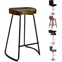 ALFORDSON Bar Stools 2 Pcs Kitchen Counter Dark Wooden 65cm Tractor Vintage Stool Chairs