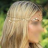 Fashion Bohemian Circle Sequins Chain Jewelry Forehead Hair Band Clasp Hairpin