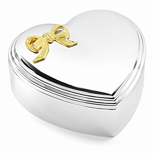 (Top 10 Jewelry Gift Silver-plated Gold-tone Bow Lift-off Lid Heart Jewelry Box)