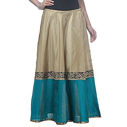 Women's Blue Printed Semi freesize Long Dupion Turquoise Hand Block Silk amp; golden Skirt rXrBPawq