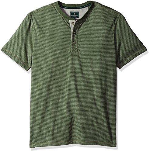 Cotton Henley Jersey (G.H. Bass & Co. Men's Short Sleeve Carbonized Jersey Henley, Rich Black Forest, 2X-Large)