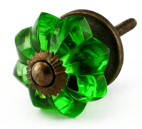 Emerald Green Glass Cabinet Knobs 8 Pc Cupboard Drawer Pulls U0026 Handles ~  K61 Green Glass Knobs With Antique Brass Hardware ~ Glass Knobs, Handles U0026  Pulls ...
