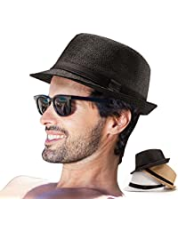 Mens Fedora Hats for Men - Fedora Hat Panama Hat Straw Hat Trilby Hat  Summer Hat aabb340a6d1