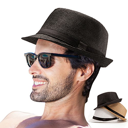 Mens Fedora Hats Panama Hat Men Hats Mens Summer Hats Men's Fedora Straw Sun Hat (Pack of 3 (Pure White,Khaki,Black))