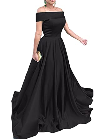 QueenBridal Off Shoulder Sleeveless Satin Long Evening Dress Prom Dress