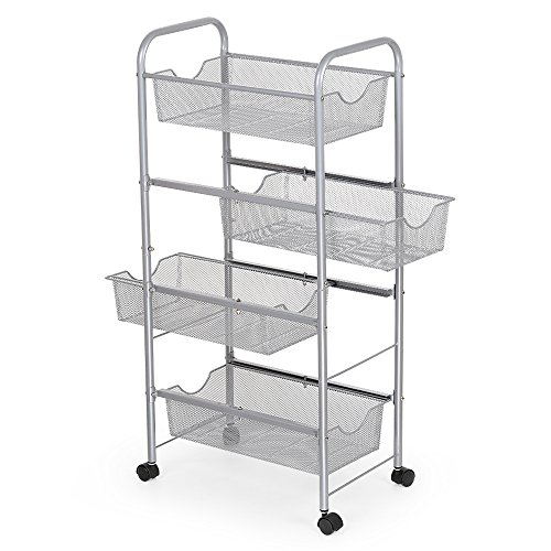 Cart Wire Open (NEX Storage Cart Organizer with Drawers Basket Wheels Durable Mesh Wire Rolling Cart for Home Kitchen Bathroom Laundry Storage)