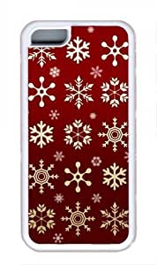 diy phone caseGolden Snowflakes Red Background iphone 5c White Sides Rubber Shell TPU Case by Sakuraelieechyandiy phone case