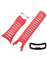 Replacement Watch Band,Efitty Rubber Strap Replacement Watch Band Strap + Security Band Clasp For Suunto Ambit 3 Peak / Ambit 2 (Red)