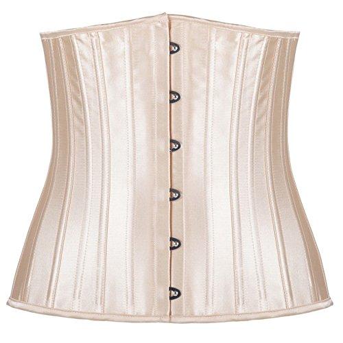 PULABO Corsé Para Mujeres Corpino de Jacquard 24 huesos de acero de Acero con Cintura de Cincher Beige
