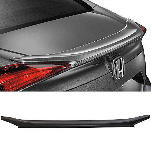 Trunk Spoiler Fits 2016-2018 Honda Civic 4Dr Sedan | Factory Style Unpainted Black Rear Spoiler Wing Tail Lid Finnisher Deck Lip by IKONMOTORSPORTS | 2017