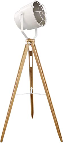 Lámpara de pie proyector Déco acero blanco tripode madera – diseño ...
