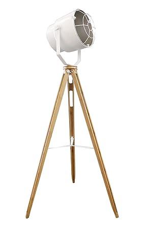 Lámpara de pie proyector Déco acero blanco tripode madera ...
