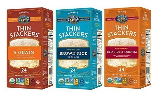 Lundberg Organic Gluten-Free Thin Stackers 3 Flavor Variety Bundle: (1) 5 Grain Thin Stackers, (1) Red Rice & Quinoa Thin Stackers, and (1) Brown Rice Lightly Salted Thin Stackers, 5.9 Oz Ea (3 Total)