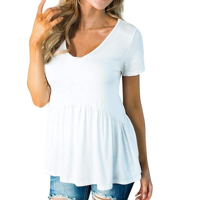 Elegante Camisas Sólidos Colores Único Verano Mujer Camisetas Manga dCtrxsQh