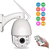 WGCC Wifi Ptz Dome Ip Camera Wireless Outdoor 2MP HD 1080p 4X Optical Zoom 2.8-12mm Wifi 30M Night Vision 60M Onvif 2.1 With SD Card Slot, Support Audio In/Out