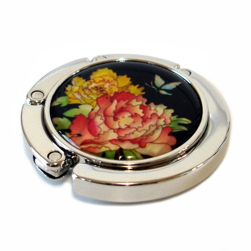 - Antique Alive Mother of Pearl Folding Table Purse Caddy Handbag Holder Hanger Hook, Red Yellow Flower, 3.2 Ounce