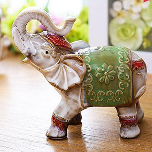 WuKong Ceramics Patio, Lawn & Garden Sculptures & Statues Decorative Stones Elephant Ornaments Decoration (Green)