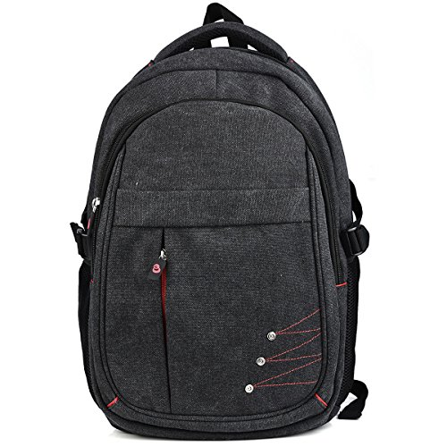 Charcoal Gray Vintage Laptop College Backpack For 2016 Apple MacBook Pro 15'', MacBook Pro 13'' w/Retina Series, MacBook Air 13.3'', MacBook Air 11.6'' Laptop by EnvyDeal