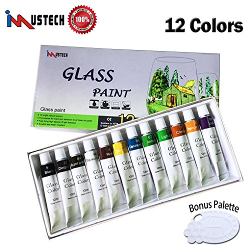 Set with Palette, Glass Window Color Paint on Ceramic, Wine Bottle and Glass Surface (12 Colors X 0.41 FL.oz) ()