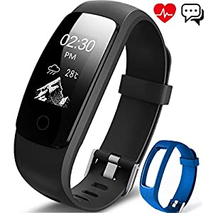 ANEKEN Fitness Tracker Activity Tracker with Heart Rate Monitor IP67 Bluetooth Smart Bracelet with Pedometer Sleep Monitor Watch with Replacement Strap for Android iOS Smartphone, Black