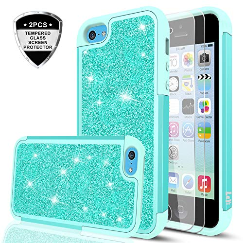 iPhone 5C Phone Case with Tempered Glass Screen Protector [2 Pack],LeYi Glitter Bling Cute Girls Women Dual Layer Heavy Duty Protective Phone Case for iPhone 5C TP Mint