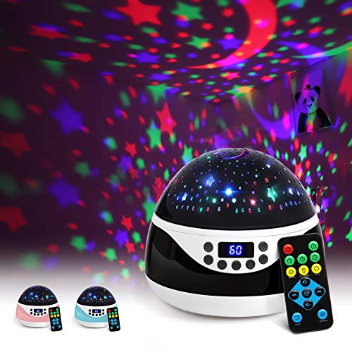AnanBros Remote Baby Night Light with Timer Music, Star Night Light Projector for Kids, Rotating Kids Night Lights for Bedroom 9 Color Options, Projection Lamp for Baby Christmas Gifts Black (Baby Projectors)