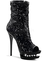 Pleaser Blondie-R-1008 Clubwear Stiletto W/Sequins 6 Sexy Platform Ankle Boots