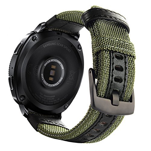 Galaxy Watch 42mm Band Nylon, Gear Sport Band, Gear S2 Classic Bands 20mm Replacement Strap for Samsung Galaxy Watch 42mm SM-R810/ Gear Sport SM-R600/ Gear S2 Classic SM-R732 SM-R735 Smartwatch, Green