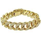 Iced Out Miami Cuban Bracelet 18mm Mens Hip Hop Designer 18k Gold Filled 9.0''