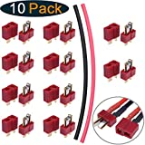 Hobbypark 10 Pairs T-Plug Connectors Male & Female Deans Style For RC LiPo Battery Pack ESC Electric Engine Motor Parts