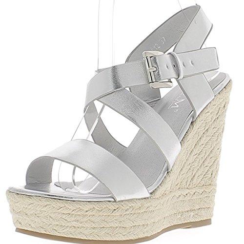 Zapatillas gris plata de tacón 13cm ancho bridas entrecruzados de la cuña