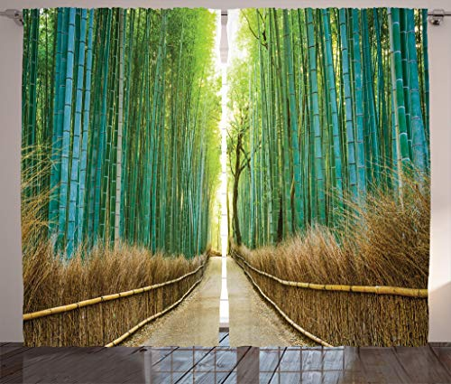 Ambesonne Bamboo Forest in Japan Collection, Panoramic View of Historic Landscape Park Photo Print, Window Treatments, Living Kids Girls Room Curtain 2 Panels Set, 108 X 90 Inches, Light Green Peru