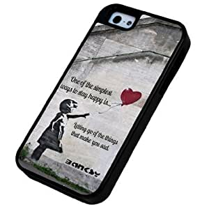 iphone 5 5S Banksy Graffiti Art Balloon Girl Quote Design Miliotary Army Defender Builder Heavy Duty Case/Cover Shock Proof Cover