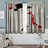 Anhounine Queen,Blackout Curtain,Retro Style Woman with Hat Playing Card Design Poker Casino Icon Gamble,Thermal Insulating Curtain,Vermilion Beige,W120 x L84 inch